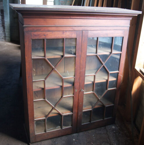 Walnut Bookcase Secretary Top with Glass Doors