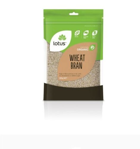 12 x 300g LOTUS Organic Wheat Bran ( 3.6kg Total ) no cholesterol or added sugar