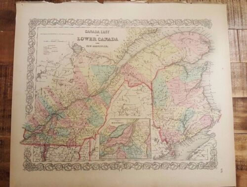 NICE - 1856 Colored Map/CANADA EAST OR LOWER CANADA & NEW BRUNSWICK