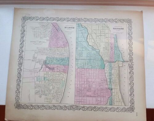 VERY NICE 1856 Colored Map - ST. LOUIS & CHICAGO - Colton's Atlas Of The World