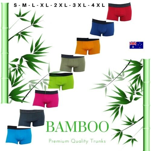 Mens Organic Bamboo Underwear Plus Size to Small Boxer Trunks Breathable Light