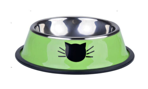 Dog Cat Pet Stainless Steel Bowl Feeding Food Water With Rubber Stop Base