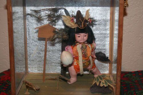 Antique Japanese Large Diorama Peach Boy