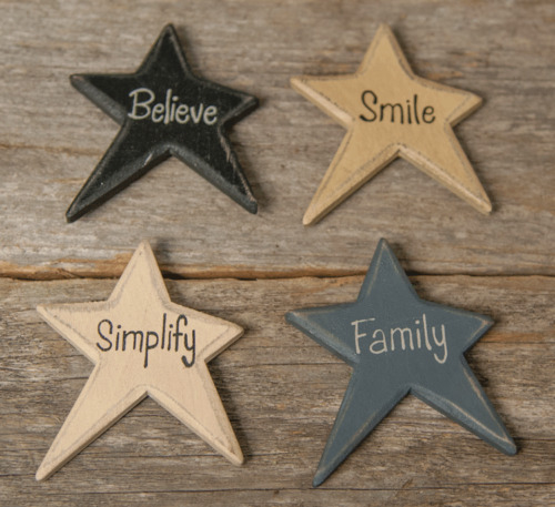Set of 4 Primitive Star Magnets, Family, Believe, Smile, Simplify, New, Distress