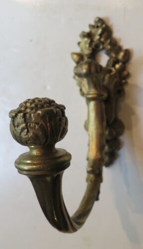 Five Top Quaity Antique French Hat/Coat Hooks Cast and Gold Gilt, Marked c. 1870