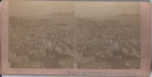 1900s KILBURN STEREOVIEW SAN FRANCISCO CA GOLDEN GATE FROM TELEGRAPH HILL