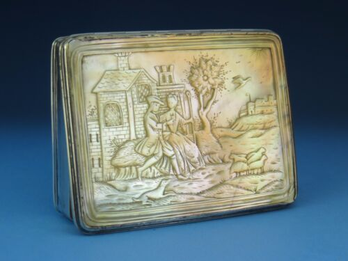 Rare GEORGE II SILVER & CARVED MOTHER of PEARL SNUFF BOX England circa 1735-1745