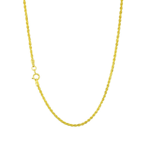"""14K REAL Yellow Gold 1.5mm Diamond Cut Rope Chain Pendant Necklace Women 16""""-24"""""""