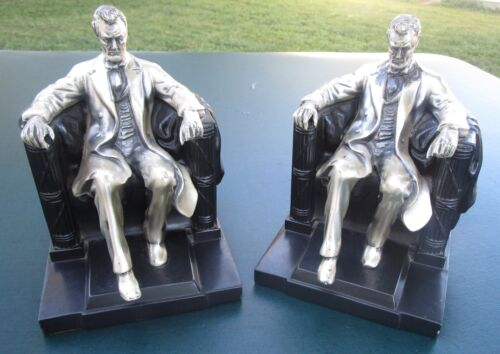 Vintage Heavy Abraham Lincoln Bronze Bookends