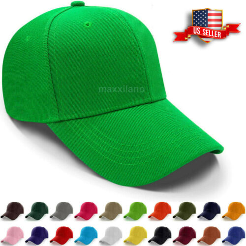 7374c7d873629 Baseball Caps Plain Loop Adjustable Solid Color Hat Polo Style Mens Womens