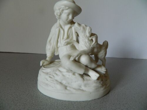 Vintage Parian Ware Boy and His Dog - Very nice!