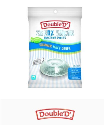 12 x 70g DOUBLE D HEALTHIER SWEETS Sugar Free Clear Mint Drops ( total 840g )