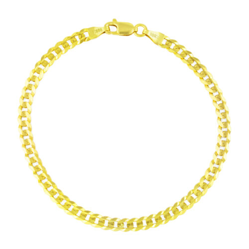 """SOLID 10K Yellow Gold Real 4MM Italian Cuban Link Curb Chain Bracelet 7"""" 8"""" 9"""""""