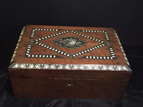 Antique Wooden Lap Desk with Decorative Mother of Pearl Inlay