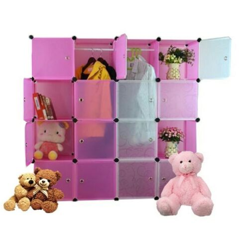 Tupper Cabinet 16 Cubes White Doors Pink DIY Storage Cabinet (Pink) <br/> Paypal Accepted✔Same Business Day*Dispatch✔Powerseller✔