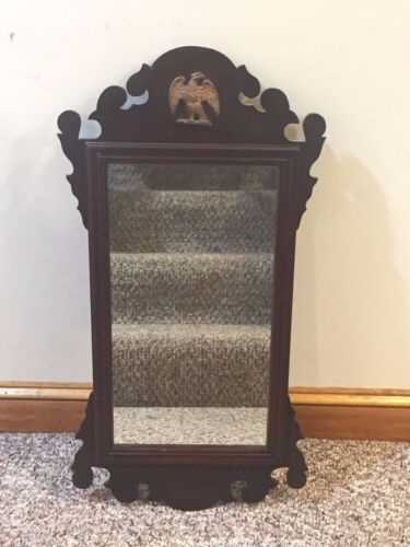 Antique Gingerbread Wall Hanging Mirror with Eagle Decoration