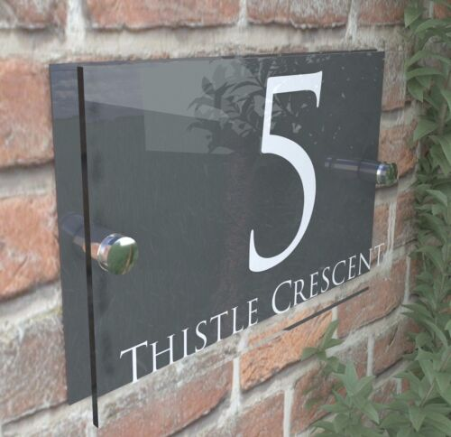 Contemporary HOUSE SIGN / PLAQUE / DOOR / NUMBER / GLASS EFFECT ACRYLIC 28W-A