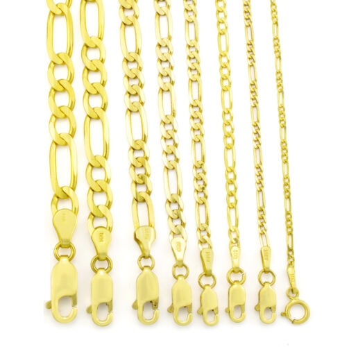 "REAL 14K Yellow Gold 2MM-7.5MM Italy Figaro Link Chain Pendant Necklace 16""- 30"""