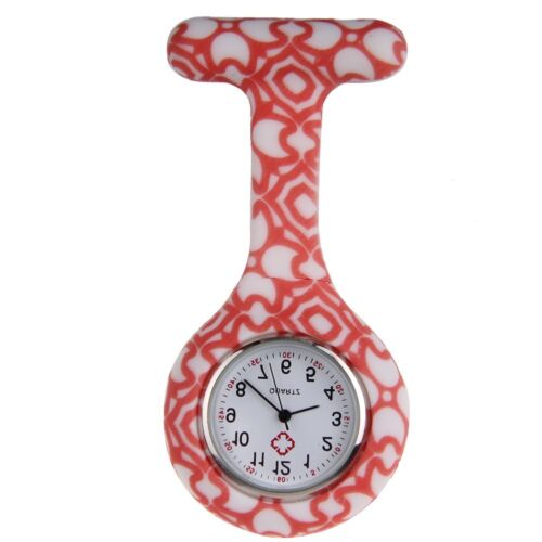 Nurses Fashion Coloured Patterned Silicon Rubber Fob Watches - Orange Hearts
