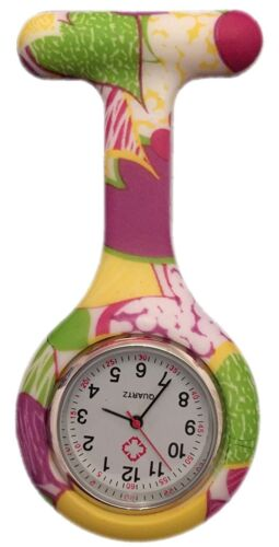 Nurses Fashion Coloured Patterned Silicone Rubber Fob Watches - Yellow + Purple