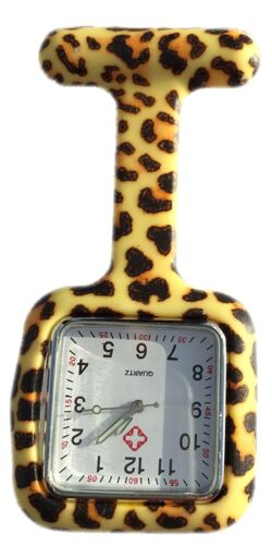 Nurses Fashion Coloured Patterned Silicone Rubber Fob Watches - SQUARE Leopard