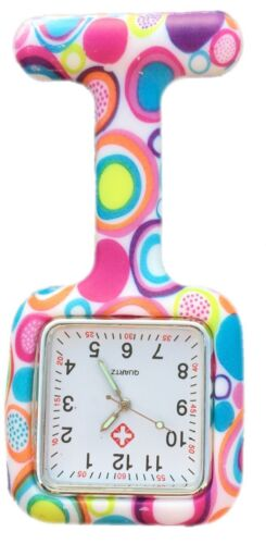 Silicone Nurses Brooch Tunic Fob Watch New With FREE BATTERY (SQUARE Colourful