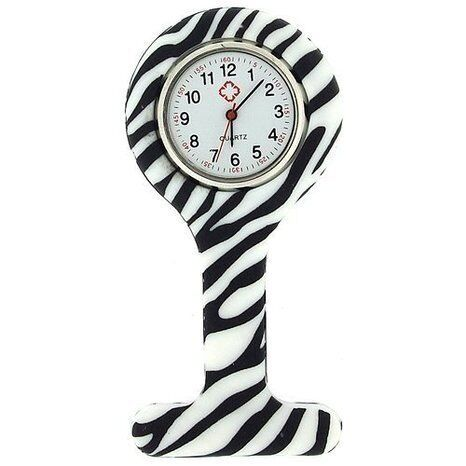 Nurses Fashion Coloured Patterned Silicon Rubber Fob Watches - Zebra
