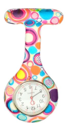 Nurses Fashion Coloured Patterned Silicone Rubber Fob Watches Infection Control