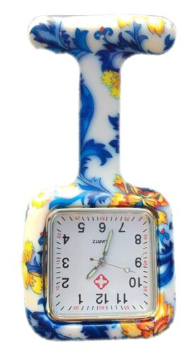 Nurses Fashion Coloured Patterned Silicon Rubber Fob Watches SQUARE Blue Flowers