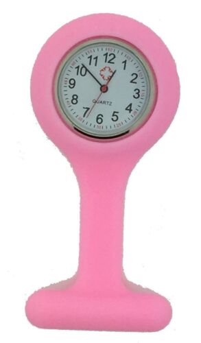 Silicone Nurses Brooch Tunic Fob Watch New With FREE BATTERY (7 - Pink)