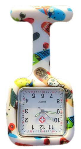 Nurses Fashion Coloured Patterned Silicone Rubber Fob Watches SQUARE Skateboard