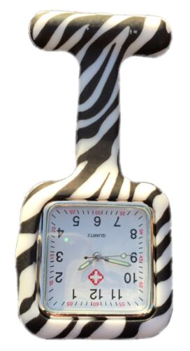 Silicone Nurses Brooch Tunic Fob Watch New With FREE BATTERY (SQUARE Zebra)