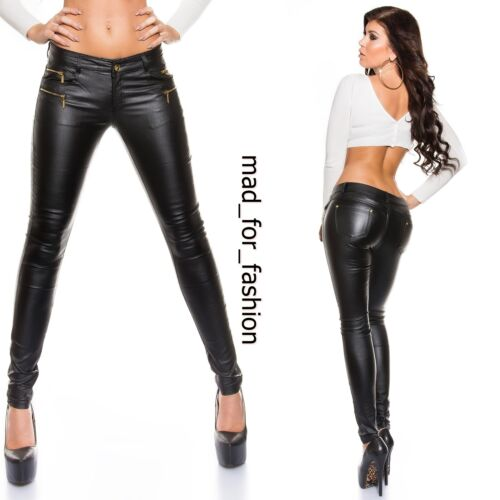 SEXY TROUSERS IN LEATHER LOOK WITH ZIPS.UK 6.8.10.12.14. EU 34.36.38.40.42.