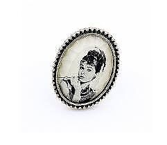 Beautiful Vintage Audrey Hepburn Photo Portrait Smoke Cameo Ring Adjustable Ring