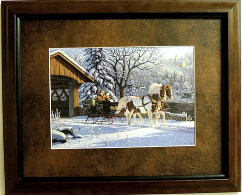 SLEIGH RIDING PICTURE COVERED WOOD BRIDGE HORSES SNOW SCENE MATTED FRAMED 11X14