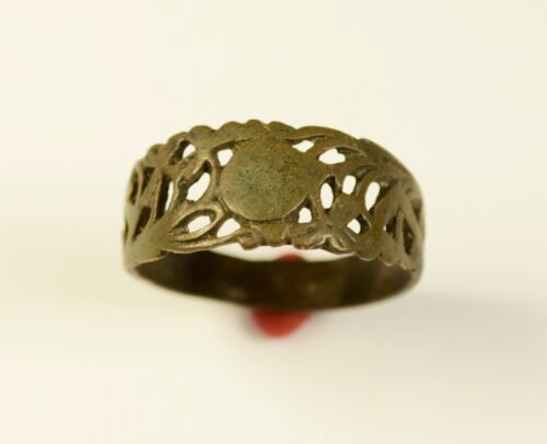 GREAT MEDIEVAL - SAXON ERA BRONZE OPEN-WORK RING - WEARABLE ARTIFACT