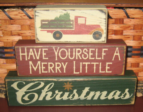 PRIMITIVE COUNTRY WISHING YOU A MERRY CHRISTMAS  3 pc  BLOCK SET