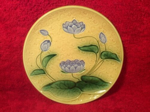 Antique German Majolica Water Lily Plate Schramberg, gm884  GIFT QUALITY!!