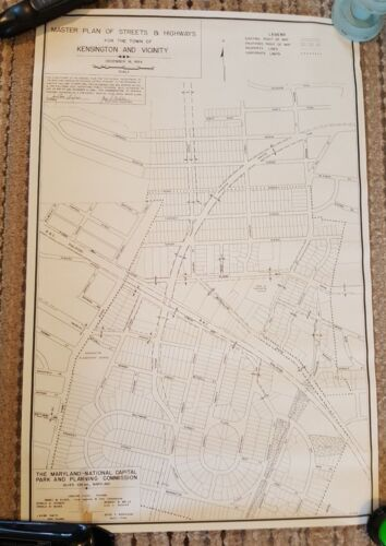 1954 - MAP OF Master Plan of Streets & Highways/Kensington & Vicinity, Maryland