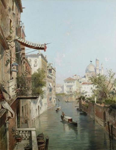 Franz Richard Unterberger Canale San Barnaba, Venice Giclee Canvas Print