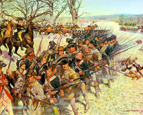 Large American Revolution War Art Battle Of Guilford Court Painting Canvas Print