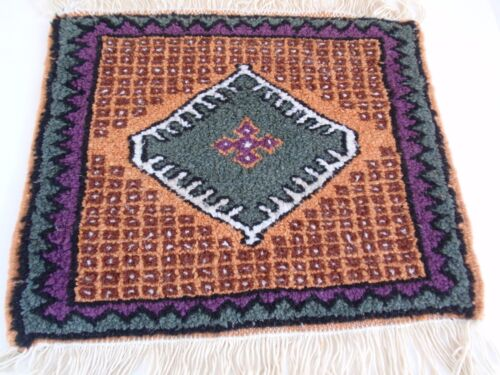 Vintage Hand Crafted Loomed Middle Eastern Wool Rug Sample Square Fringed Thick