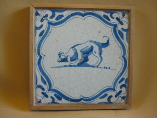 17th C  DUTCH DELFT TILE  WITH A DOG