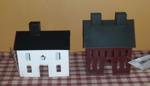 Burgundy & White Tin Saltbox House Set, Metal, Rustic, Star Cut Out, Primitive