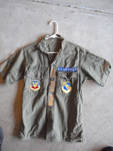 Vintage US Air Force Green Long Sleeve Shirt with Patches and Reflector PatchesOriginal Period Items - 13983