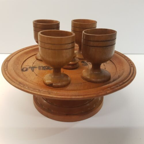 """Rare Vintage Wooden Hand Made Tray & 4 Cups, Bulgarian 1950's """"Army group 55170"""""""