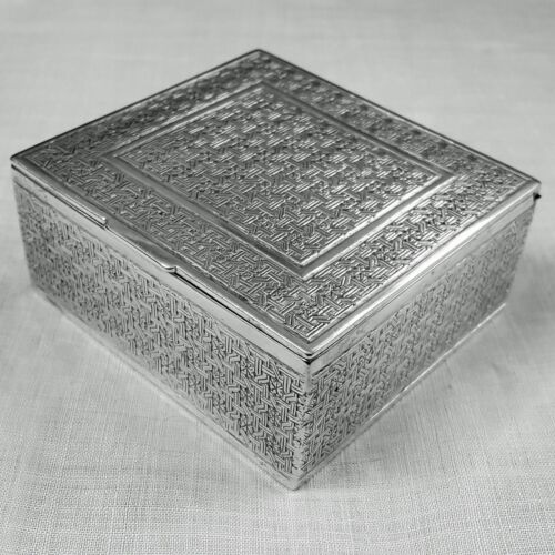 Islamic silver box hand chased engraved geometric design NO mono poss Persian