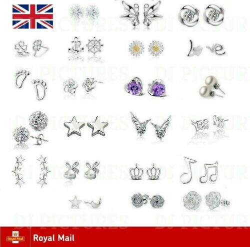 Genuine Sterling Silver 925 Stud Earrings Cubic Zirconia Earring Crystal Solid  <br/> BUY 2 GET 1 FREE (add 3 to basket to qualify) * UK *