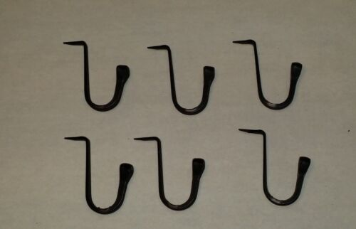 """Set of 6 Large Wrought Iron Spike Hooks, 1-3/4"""" tall, Primitive, Colonial Hook"""