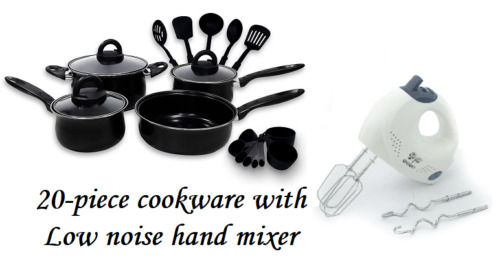 Keimav 20-piece Cookware with Nylon Utensil w/ Low Noise Hand Mixer <br/> Paypal Accepted✔Same Business Day*Dispatch✔Powerseller✔